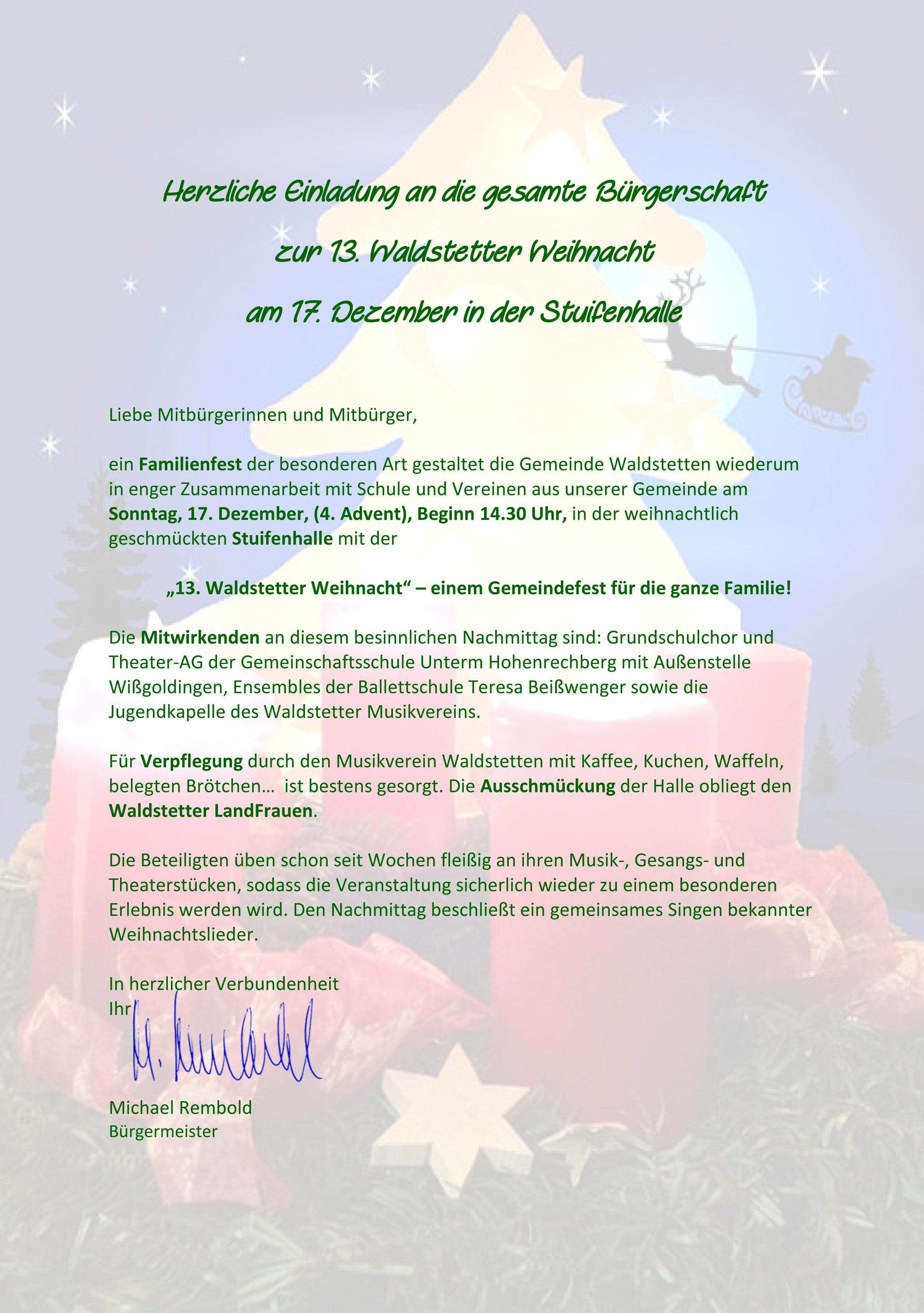 Einladung Zu Veranstaltungen Am Wochenende Waldstetten